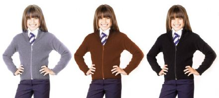 Girls School Knitted Stretch (Full Zip Front) Cardigan Jumper